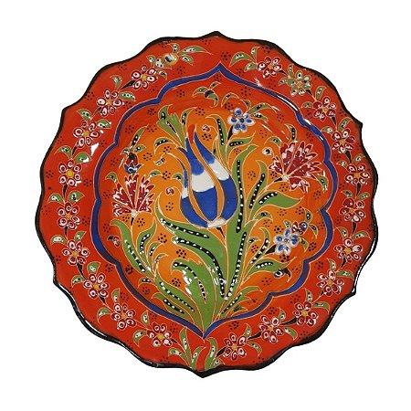 Prato Turco Pintado de Cerâmica Vermelho 18cm (Modelo 3)