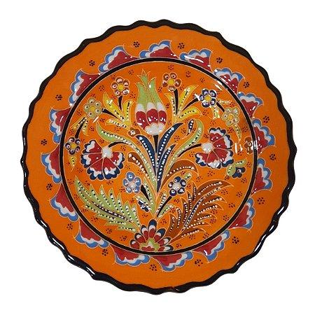 Prato Turco Pintado de Cerâmica Laranja 18cm (Modelo 2)