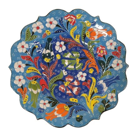 Prato Turco Pintado de Cerâmica Azul 18cm (Modelo 1)