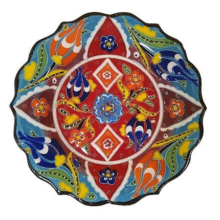 Prato Turco Pintado de Cerâmica Azul 18cm (Modelo 2)