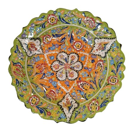 Prato Turco Pintado de Cerâmica Verde Estampado (Pinturas Diversas) 30cm