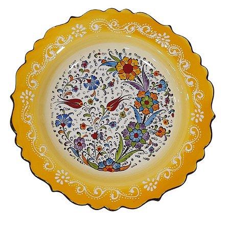 Prato Turco Pintado de Cerâmica Amarelo Liso (Pinturas Diversas) 30cm