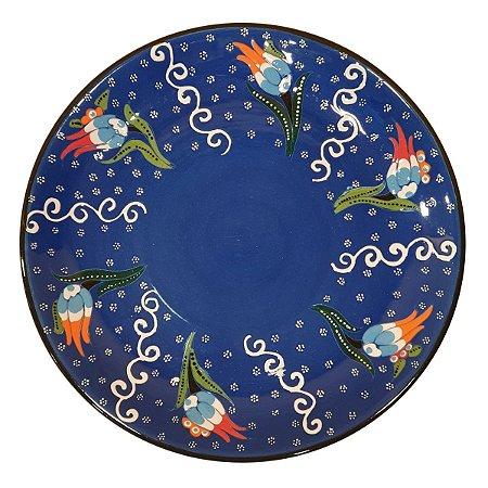Prato Turco Pintado de Cerâmica Azul Royal (Pinturas Diversas) 30cm