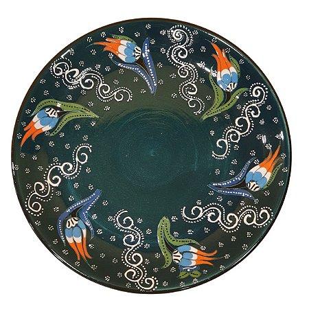 Prato Turco Pintado de Cerâmica Verde Escuro (Pinturas Diversas) 30cm