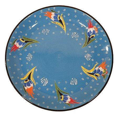 Prato Turco Pintado de Cerâmica Azul Bebê (Pinturas Diversas) 30cm