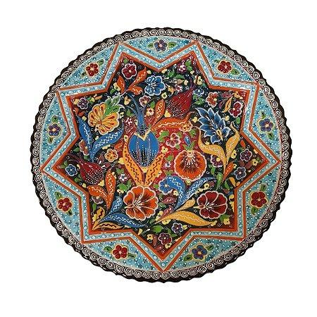 Prato Turco Pintado de Cerâmica Azul e Verde (Pinturas Diversas) 37cm