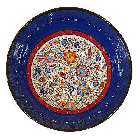 Centro de Mesa Turco Pintado de Cerâmica Azul Royal 30cm (Pinturas Diversas)