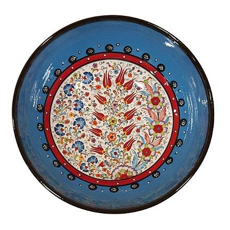 Centro de Mesa Turco Pintado de Cerâmica Azul Bebê 30cm (Pinturas Diversas)