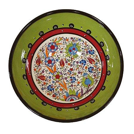 Centro de Mesa Turco Pintado de Cerâmica Verde 30cm (Pinturas Diversas)