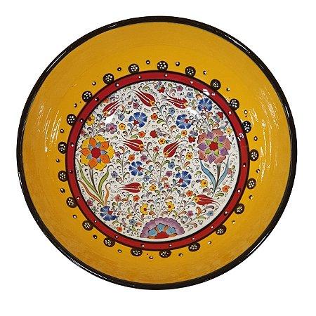 Centro de Mesa Turco Pintado de Cerâmica Amarelo 30cm (Pinturas Diversas)