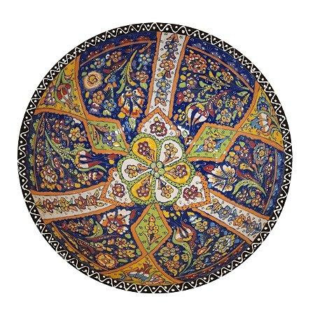 Centro de Mesa Turco Pintado de Cerâmica Azul Royal Estampado 30cm (Pinturas Diversas)