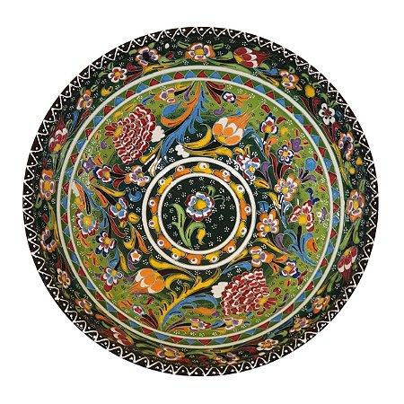Centro de Mesa Turco Pintado de Cerâmica Verde Estampado 30cm (Pinturas Diversas)
