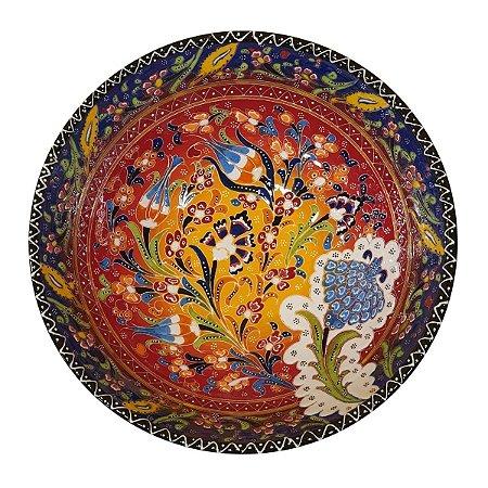 Centro de Mesa Turco Pintado de Cerâmica Vermelho e Azul Estampado 30cm (Pinturas Diversas)