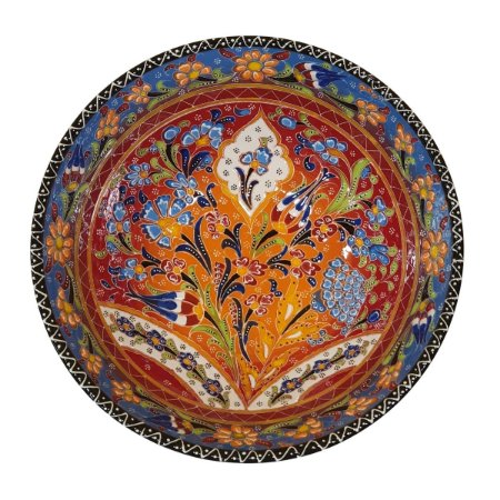 Centro de Mesa Turco Pintado de Cerâmica Azul e Laranja Estampado 30cm (Pinturas Diversas)