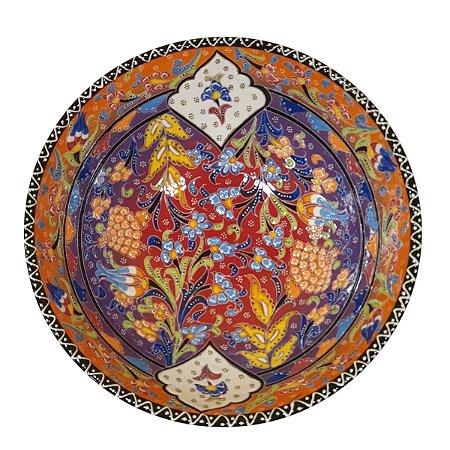 Centro de Mesa Turco Pintado de Cerâmica Laranja e Vermelho Estampado 30cm (Pinturas Diversas)