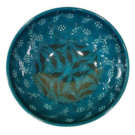 Centro de Mesa Turco Pintado de Cerâmica Turquesa 30cm (Pinturas Diversas)