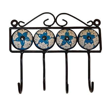 Gancho de Cerâmica Pintado Flor Azul e Branco - 4 Ganchos