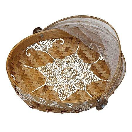 Cesto de Pão Bambu Redondo Cru com Branco 35cm (Estampas Variadas)