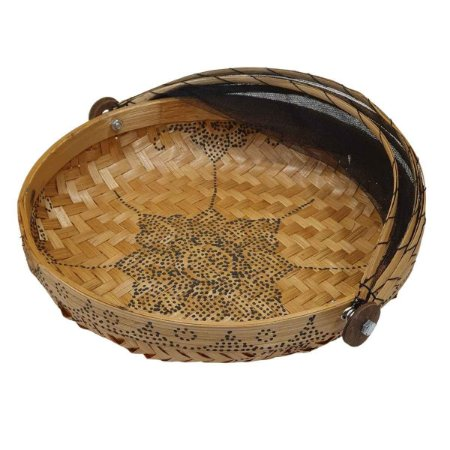 Cesto de Pão Bambu Redondo Cru com Preto 25cm (Estampas Variadas)