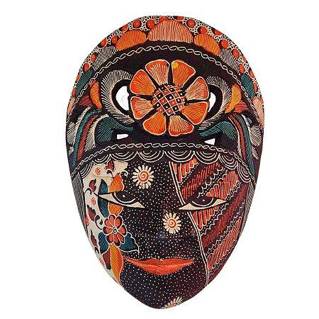 Máscara Batik Madeira Balsa Flor Azul Marinho 30cm (Estampas Diversas)