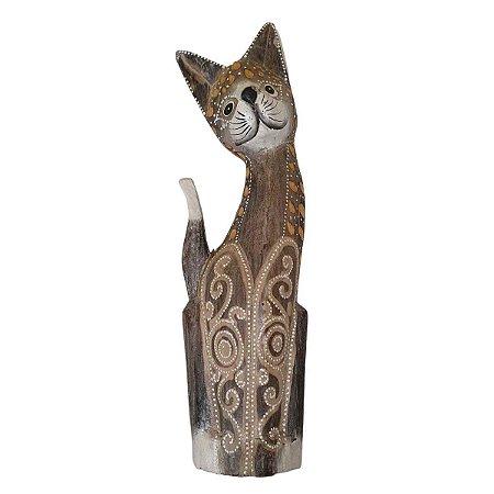 Gato de Madeira Balsa Cinza Pintado 40cm