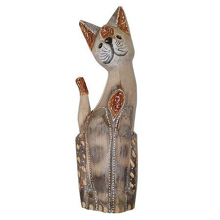 Gato de Madeira Balsa Cinza Tigrado 40cm