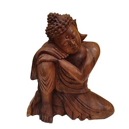 Estátua de Buda Sidarta de Madeira Suar Pensativo 35cm