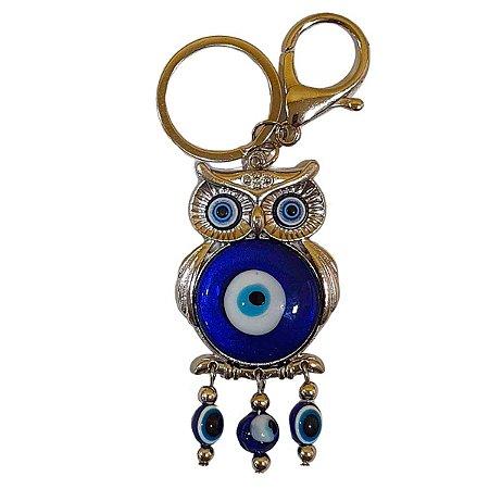 Chaveiro de Coruja e Olho Grego Azul (Modelo 3)