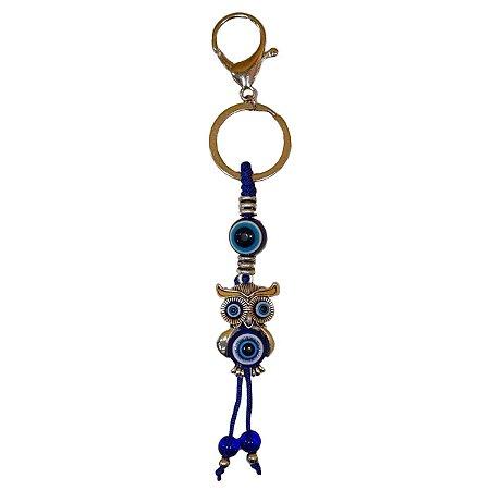 Chaveiro de Coruja e Olho Grego Azul (Modelo 2)