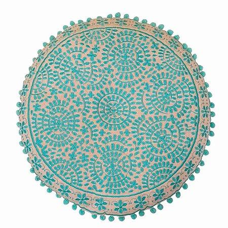 Almofada para Meditação Bordada Redonda Bege e Verde 40cm