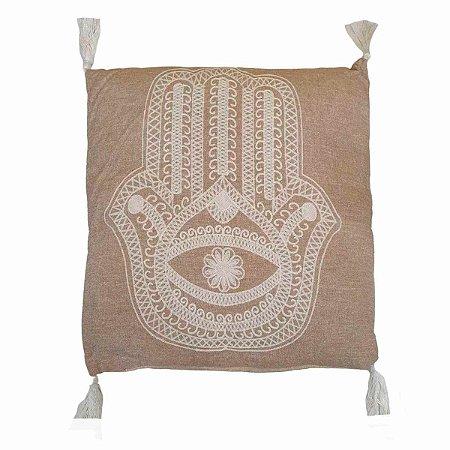 Almofada de Algodão com Bordado Hamsá Bege e Branca 40x40cm