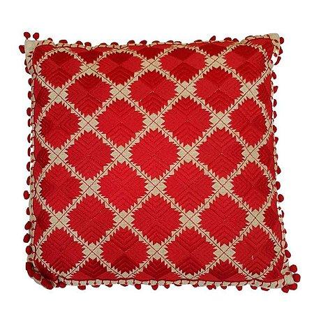 Almofada de Algodão Bordada Vermelha 40x40cm