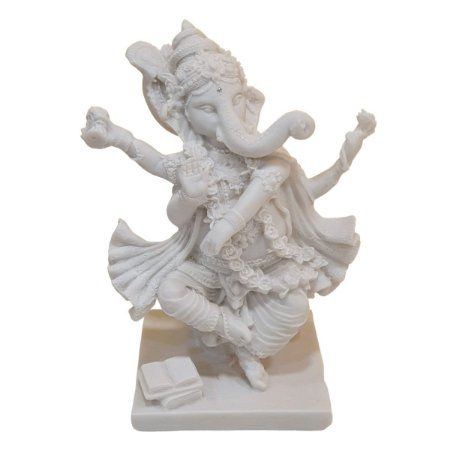 Escultura Ganesha Dançante de Pó de Mármore Branco 20cm