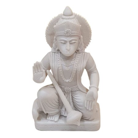 Escultura Hanuman na Base de Pó de Mármore Branco 16cm