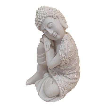 Escultura de Buda Sidarta Pensativo de Pó de Mármore Branco 17cm