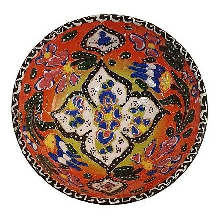 Bowl Turco Pintado de Cerâmica Laranja Estampado 12cm (Pinturas Diversas)