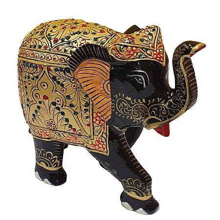 Elefante Indiano Pintado de Resina Preto 20cm