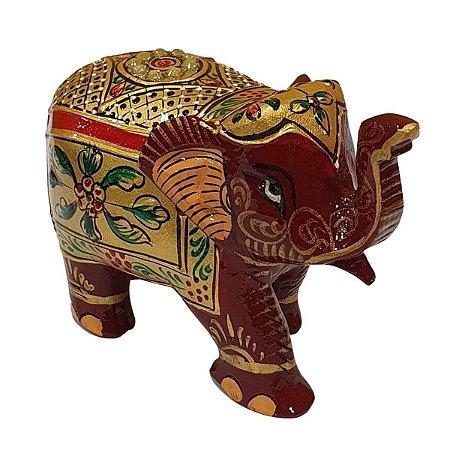 Elefante Indiano Pintado de Resina Vermelho 13cm