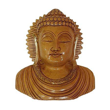 Escultura de Cabeça de Buda de Madeira Suar 10cm