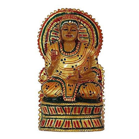 Escultura de Buda Sidarta Pintado de Madeira Suar 10cm