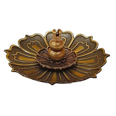 Incensário Vareta Flor de Lótus de Metal Bronze 8cm