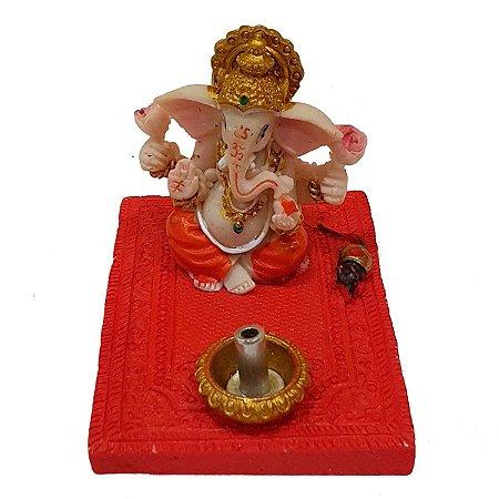 Incensário Vareta Ganesha de Resina Vermelho 5cm