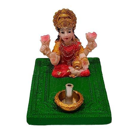 Incensário Vareta Lakshmi de Resina Verde 5cm