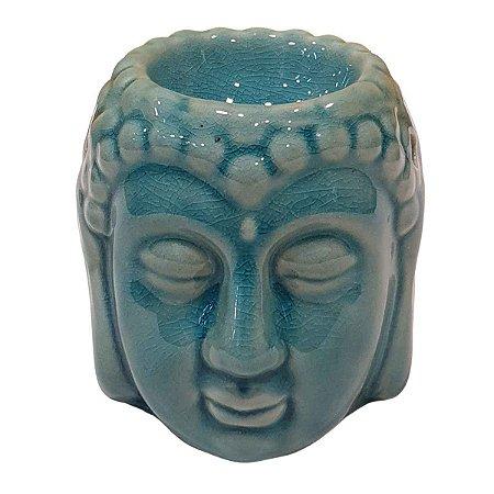 Difusor de Essências de Cerâmica Cabeça de Buda Turquesa 10cm