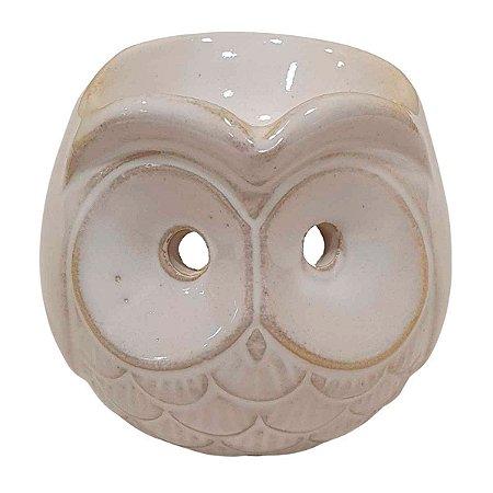 Difusor de Essências de Cerâmica Coruja Branco 8cm