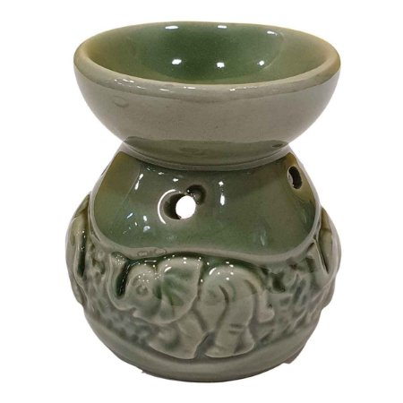 Difusor de Essências de Cerâmica Elefante Verde 8cm