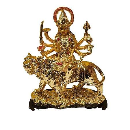Escultura Durga de Resina Dourada 20cm