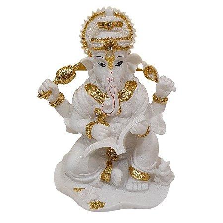 Escultura Ganesha Sabedoria de Resina Branco com Dourado 12cm