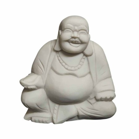 Escultura de Buda Hotei de Pó de Mármore Branca 25cm