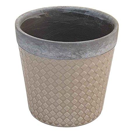 Vaso de Cerâmica Losango Bege 16cm